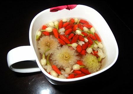Чай с ягодами годжи и хризантемами