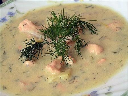 молочный суп с семгой для сушки